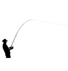 the black silhouette of a fisherman vector image