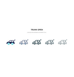 Trunk open icon in different style two colored vector