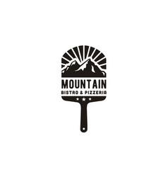 Vintage pizza paddle peel pizzeria mountain logo vector