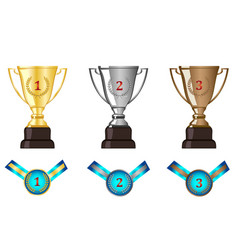Winners awards trophy medal sets vector