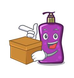 with box shampo character cartoon style vector image
