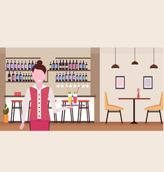 Young waitress holding tray with cocktails vector