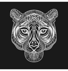 Zentangle stylized White Tiger face Hand Drawn vector