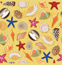 beach sand background with sea shells vector image