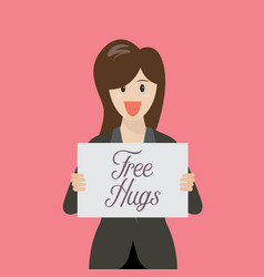 business woman showing free hug sign vector image