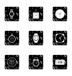 Electronic watch icons set grunge style vector image