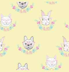 Funny girlish seamless pattern with cute kitty vector