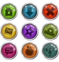 glassy buttons for interface vector image vector image