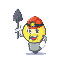 Miner light bulb character cartoon vector