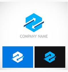 Polygon arrow exchange logo vector