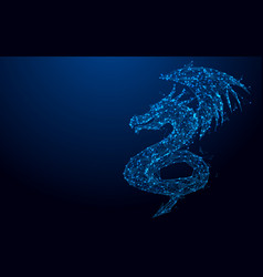 wireframe dragon mesh from a starry background vector image vector image