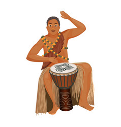 african man in ethnic clothing plays wooden djembe vector image