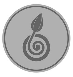 Bud sprout silver coin vector