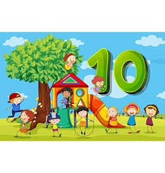 Flashcard number 10 with ten children in the park vector image vector image