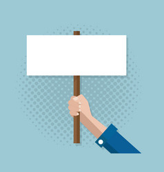 hand with blank sign banner vector image