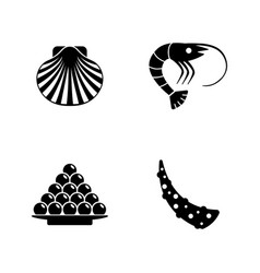 seafood simple related icons vector image vector image
