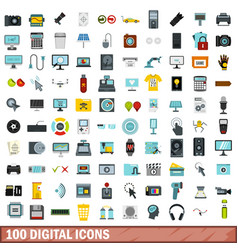 100 digital icons set flat style vector image vector image