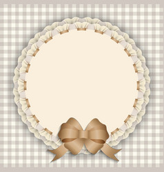 gift card with lace ribbon silk ribbon place for vector image