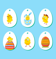 set of labels with funny easter chickens vector image vector image