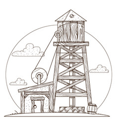 water tower vintage structures vector image vector image