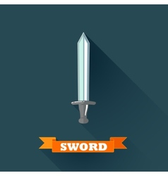 with sword in flat design with long shadow and red vector image