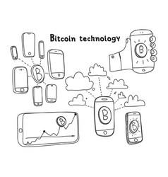 abstract bitcoin technology vector image