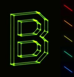 EPS10 glowing wireframe letter B - easy to change vector image vector image