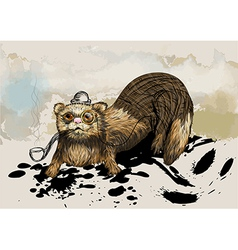 ferret with pipe vector image