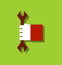 Flat icon design collection wrench in hand in vector
