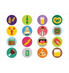Set of flat Oktoberfest icons Bottle Beer vector image vector image