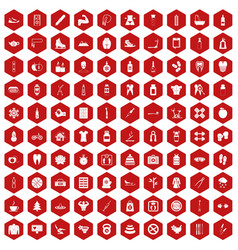 100 fit body icons hexagon red vector