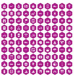 100 voyage icons hexagon violet vector