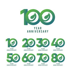 100 years anniversary leaf template design vector