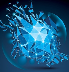 3d clear blue digital wireframe object broken into vector