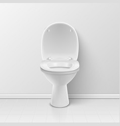 3d realistic white opened ceramic toilet in vector