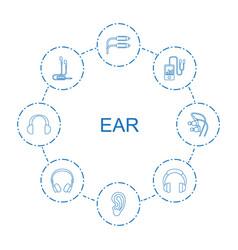 8 ear icons vector
