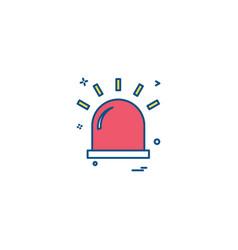 Alarm flasher light red warning icon desige vector