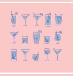 Alcohol drinks and cocktails icon flat set pink vector