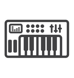 analog synthesizer line icon music and instrument vector image