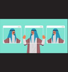 arab man holding web browser windows vector image