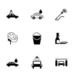 Black car wash icons set vector