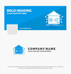 Blue business logo template for automation home vector