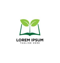 Book leaf logo design template vector