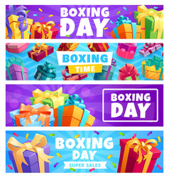 boxing day presents gift boxes with ribbon banners vector image