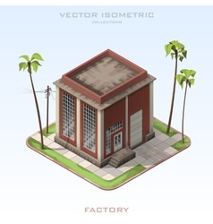 Brick building factory in isometric vector image