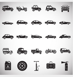 Cars icons set on white background for graphic and vector