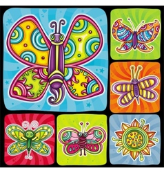 Cartoon butterflies set vector image