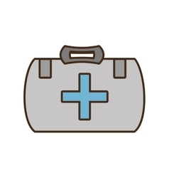 cartoon kit first aid cross emergency medical vector image