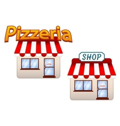 Cartoon shop and pizzeria icons vector image