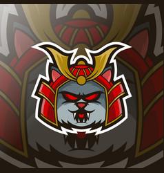cat samurai mascot esport logo template vector image